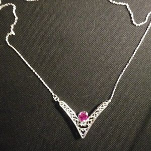 Jewelry - Sterling silver neckalace with garnet